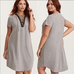 TORRID Grey Knit Lace-Up T-Shirt Midi Dress
